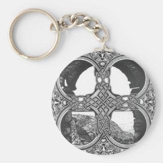 Celtic window arch tattoo basic round button key ring