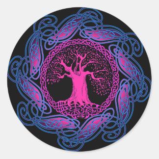 Celtic Wisdom Tree (Ultra Violet version) Round Sticker