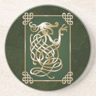 Celtic Wolf - green Drink Coaster