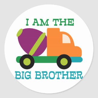 Cement Mixer Big Brother Classic Round Sticker