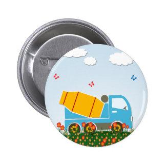 Cement mixer truck 6 cm round badge