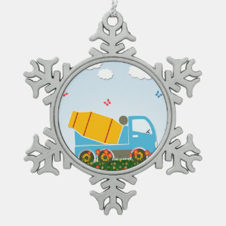 Cement mixer truck pewter snowflake decoration
