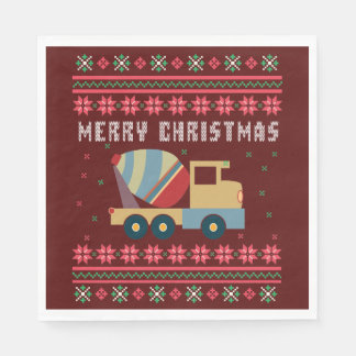 Cement Truck Ugly Christmas Sweater Disposable Serviette