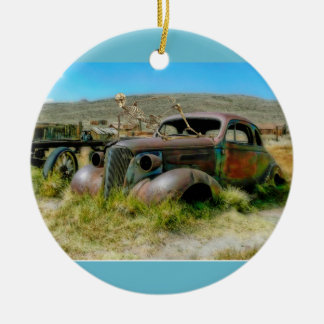 Cemetery car christmas ornament
