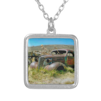 Cemetery car silver plated necklace
