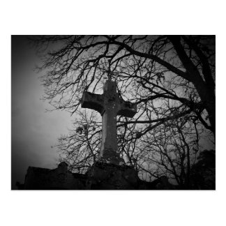 Cemetery cross tombstone postcard
