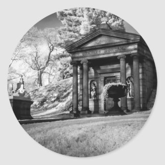 Cemetery in infrared black and white photo round stickers