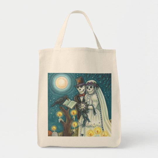 Cemetery Nuptials SKELETON WEDDING GROCERY TOTE