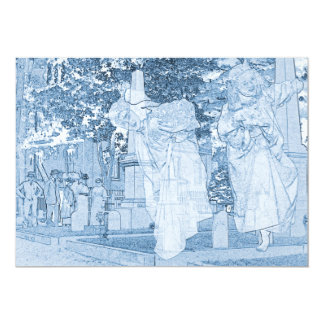 CEMETERY WALK VINTAGE GHOST GIRLS HEADSTONES CARD