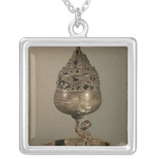 Censer in the shape of 'po-shan-lu' silver plated necklace