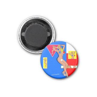 censored blonde 3 cm round magnet