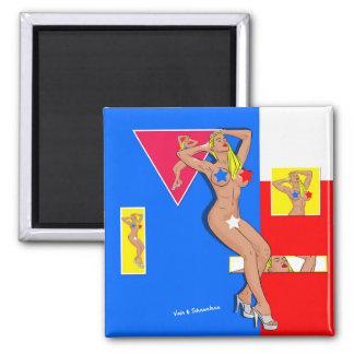 Censored blonde square magnet