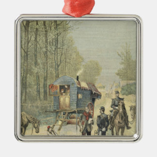 Census of Travellers in France Silver-Colored Square Decoration