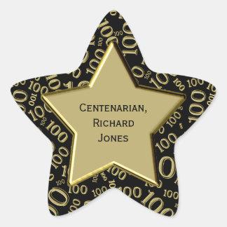 Centenarian 100th Birthday Black and Gold Star Star Sticker
