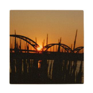 Centennial Bridge Davenport Iowa Wooden Coaster Maple Wood Coaster