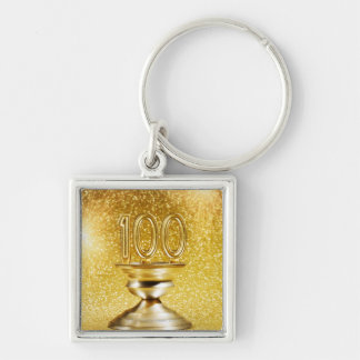 Centennial Trophy with Fireworks Silver-Colored Square Key Ring