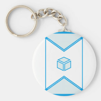 Center cube basic round button key ring