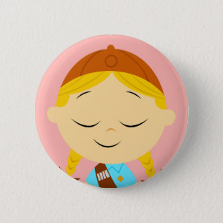 center girl _ girl scout blonde 6 cm round badge