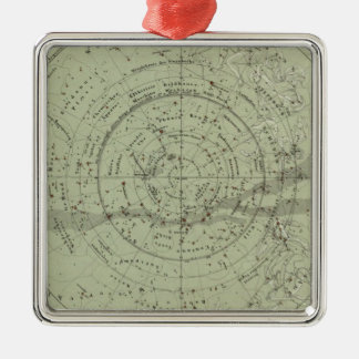 Center of the Southern Sky map Silver-Colored Square Decoration