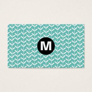 Center Spot Monogram - Leaf Stalks - Lt Aqua