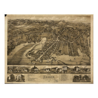 Centerbrook Connecticut 1881 Antique Panoramic Map Posters