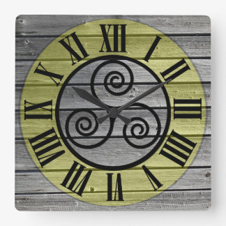 Centered Triskelion On Aged Wood Image Square Wall Clock