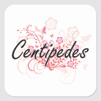 Centipedes with flowers background square sticker