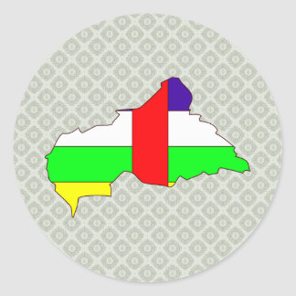 Central African Republic Flag Map full size Round Sticker