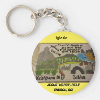 Central America be christian! keychain/art Basic Round Button Key Ring