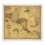 Central America Map 1862 Poster