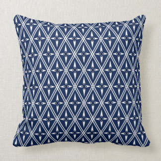 Central Asia Diamond Navy Blue with White Cushion