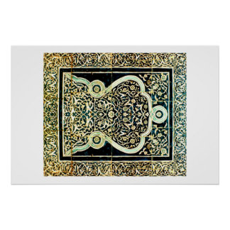 central asia tile panel poster
