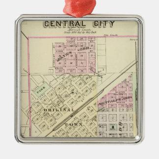 Central City, Nebraska Silver-Colored Square Decoration