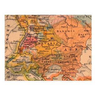 Central Europe Vintage Map Postcard