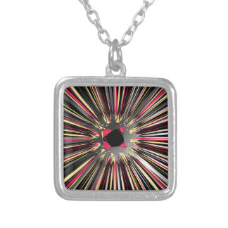 Central explosion of dynamic lines of light square pendant necklace