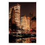 Central Park and Manhattan Skyline at Night Posters
