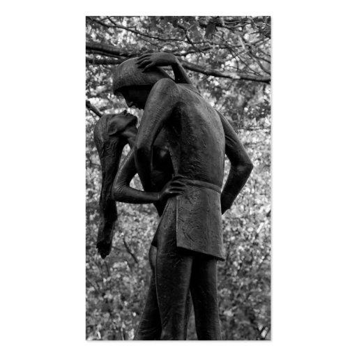 Central Park Autumn: Romeo & Juliet Statue 01 B&W Business Cards