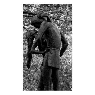 Central Park Autumn Romeo Juliet Statue 01 B W Business Card Template
