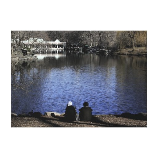 Central Park Boathouse Lake Stretched Canvas Prints