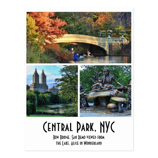 Central Park: Bow Bridge, San Remo, Alice in W.... Postcard