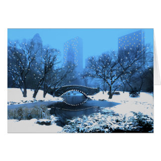 Central Park Bridge at Twilight in the Snow Card