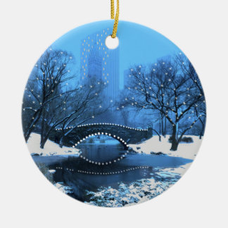 Central Park Bridge at Twilight in the Snow Christmas Ornament