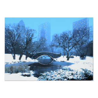 Central Park Bridge in Twilight Snow Invitation