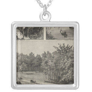 Central Park from Main St. Bridge, Marion, Kansas Silver Plated Necklace