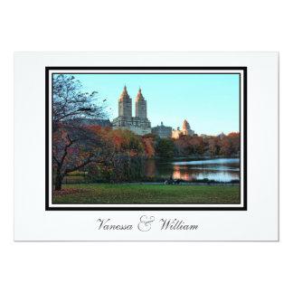 "Central Park Lake, San Remo NYC Autumn Wedding 5"" X 7"" Invitation Card"