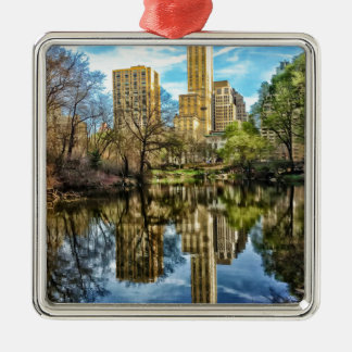 Central Park New York City NYC Silver-Colored Square Decoration
