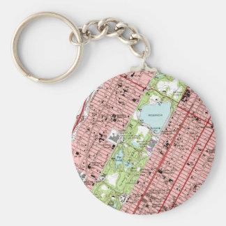 Central Park New York City Vintage Map Key Ring