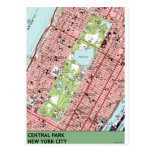 Central Park New York City Vintage Map Post Card