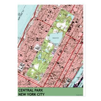 Central Park New York City Vintage Map Post Card