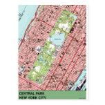 Central Park New York City Vintage Map Postcard